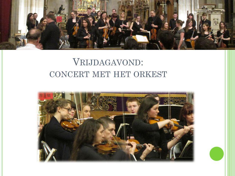 Vrijdagavond: concert met het orkest