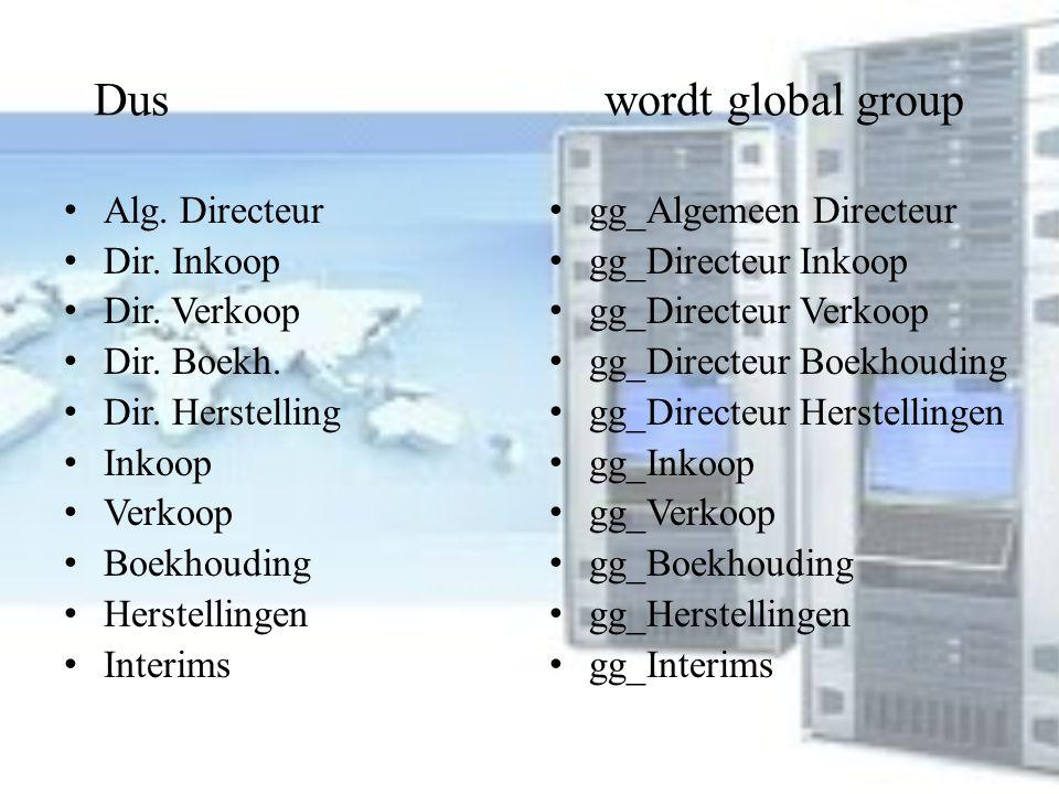 Dus wordt global group Alg. Directeur Dir. Inkoop Dir. Verkoop