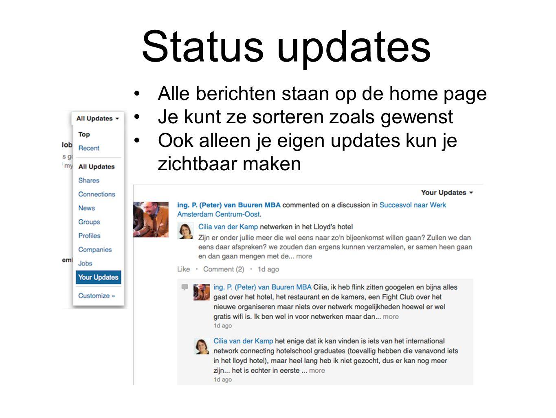 Status updates Alle berichten staan op de home page