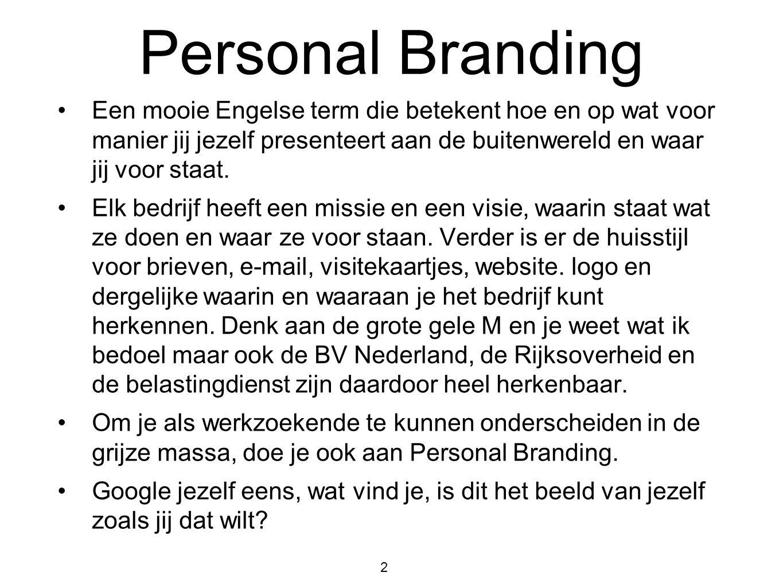 Personal Branding Een mooie Engelse term die betekent hoe en op wat voor manier jij jezelf presenteert aan de buitenwereld en waar jij voor staat.