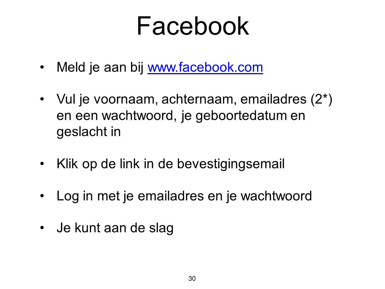 Facebook Meld je aan bij www.facebook.com