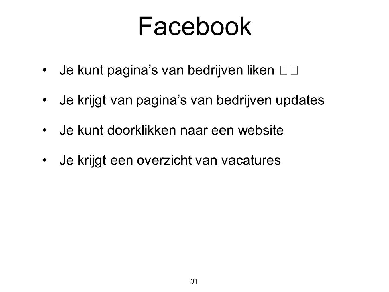 Facebook Je kunt pagina's van bedrijven liken 👍