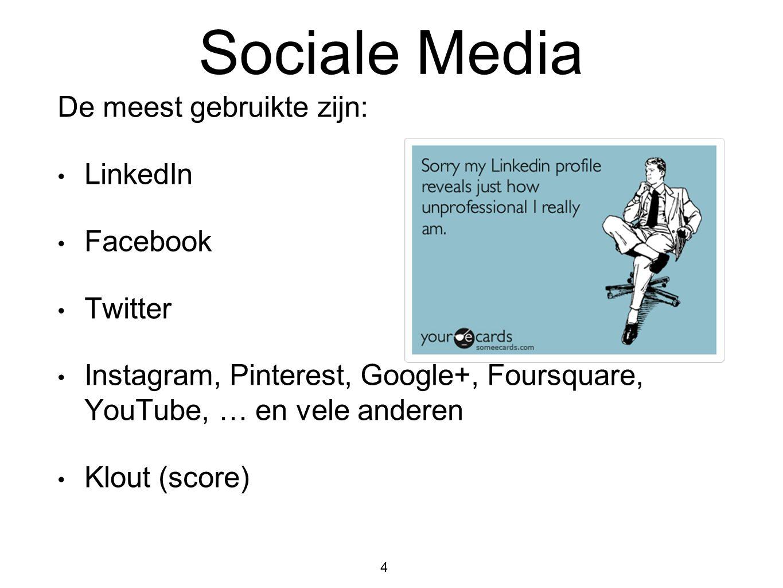 Sociale Media De meest gebruikte zijn: LinkedIn Facebook Twitter