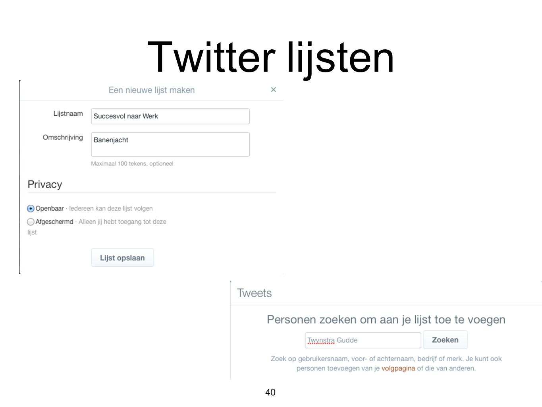 Twitter lijsten 40