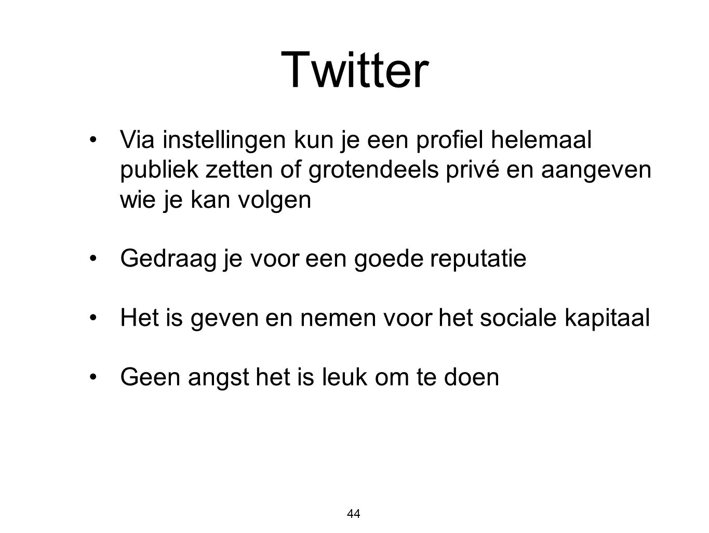 Twitter Via instellingen kun je een profiel helemaal publiek zetten of grotendeels privé en aangeven wie je kan volgen.