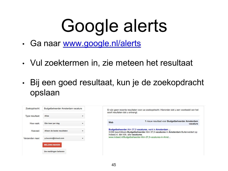 Google alerts Ga naar www.google.nl/alerts