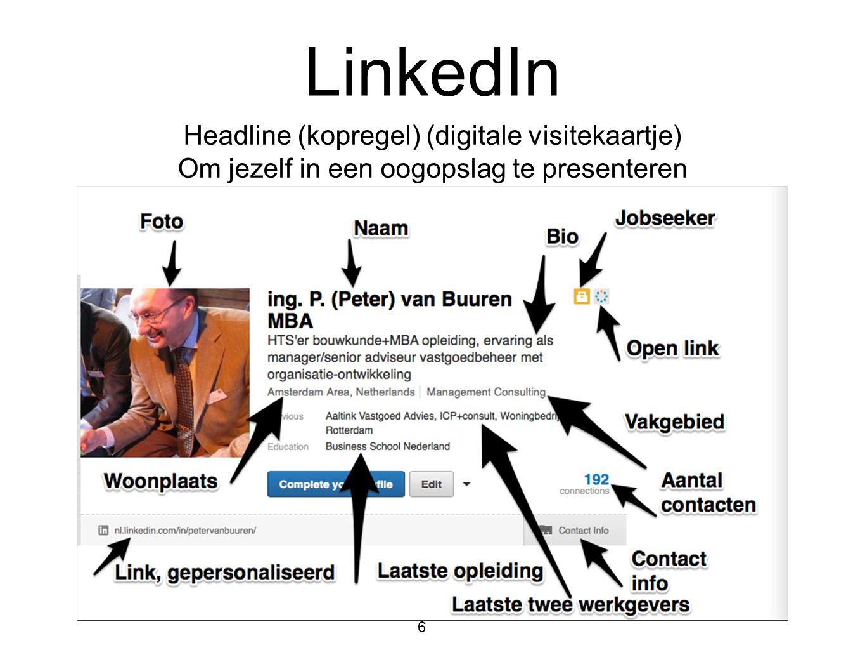 LinkedIn Headline (kopregel) (digitale visitekaartje)