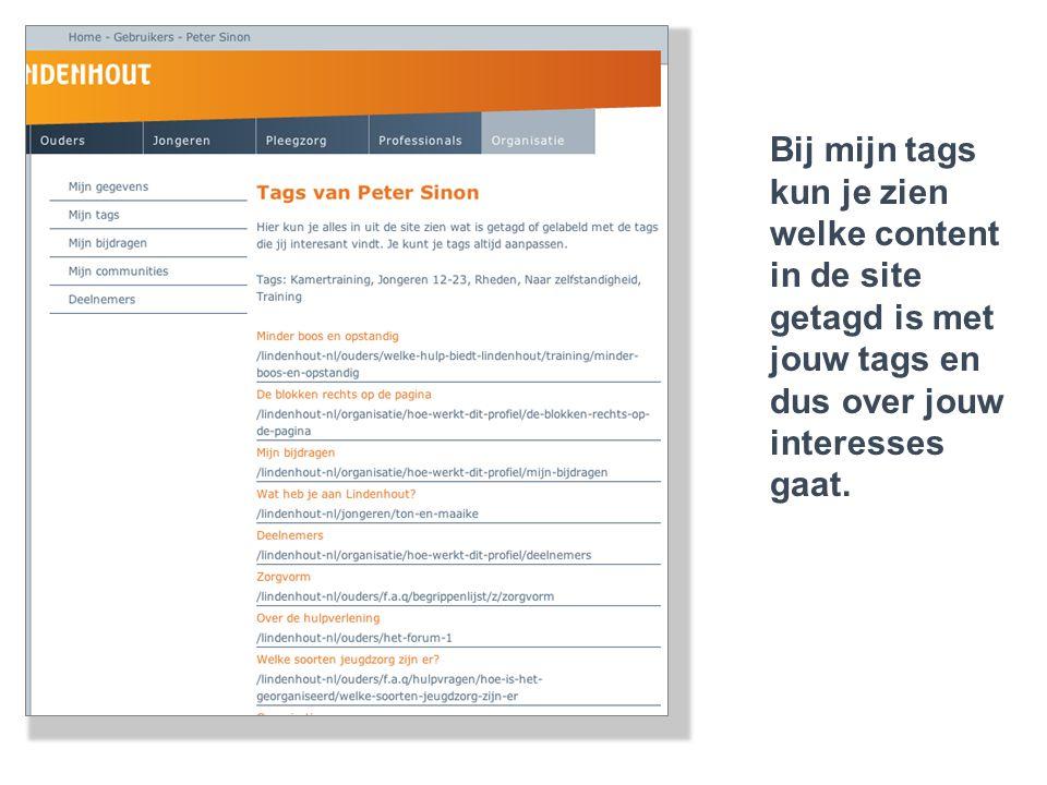 Bij mijn tags kun je zien welke content in de site getagd is met jouw tags en dus over jouw interesses gaat.