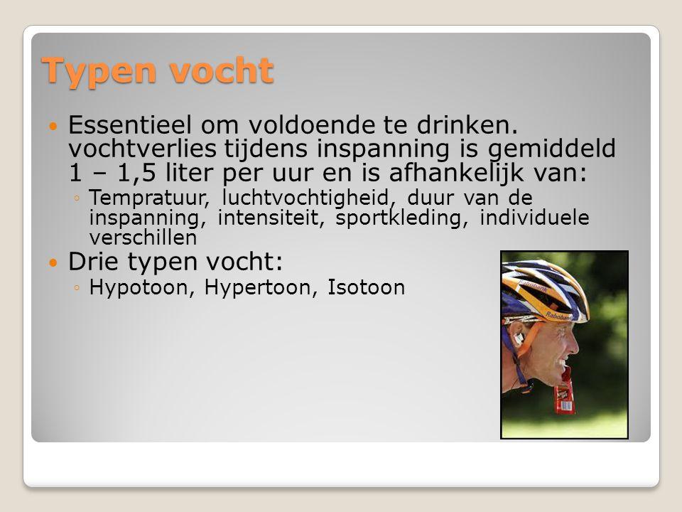 Typen vocht Essentieel om voldoende te drinken. vochtverlies tijdens inspanning is gemiddeld 1 – 1,5 liter per uur en is afhankelijk van: