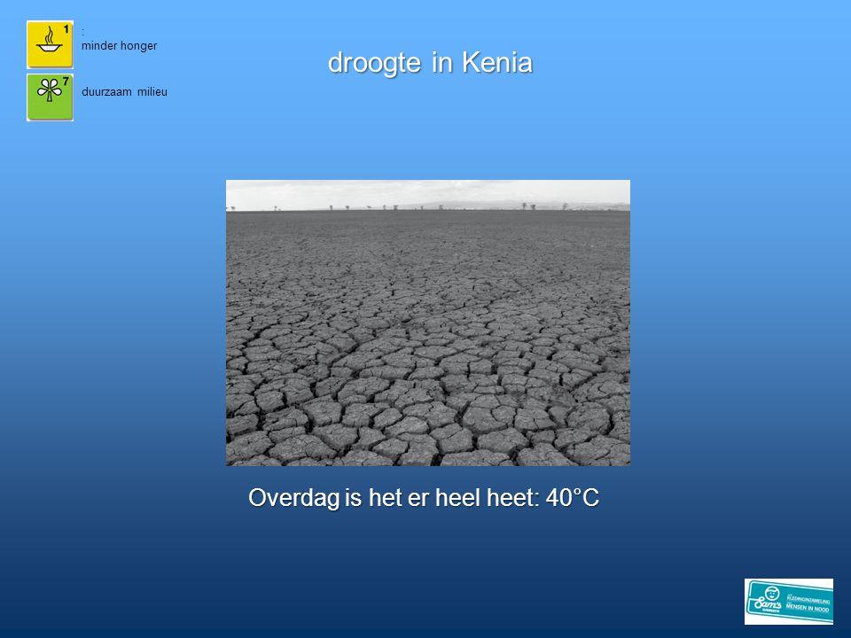 droogte in Kenia Overdag is het er heel heet: 40°C 15 : minder honger