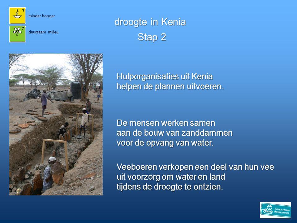 : minder honger. droogte in Kenia. duurzaam milieu. Stap 2. Hulporganisaties uit Kenia helpen de plannen uitvoeren.