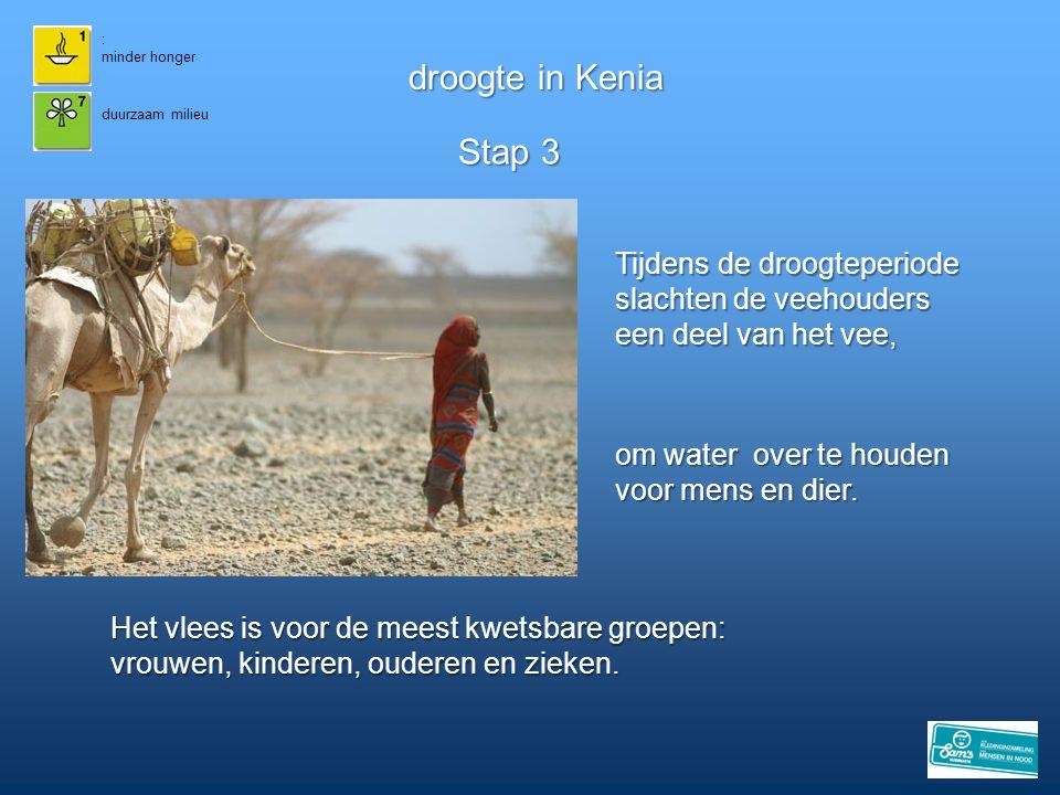 droogte in Kenia Stap 3 Tijdens de droogteperiode