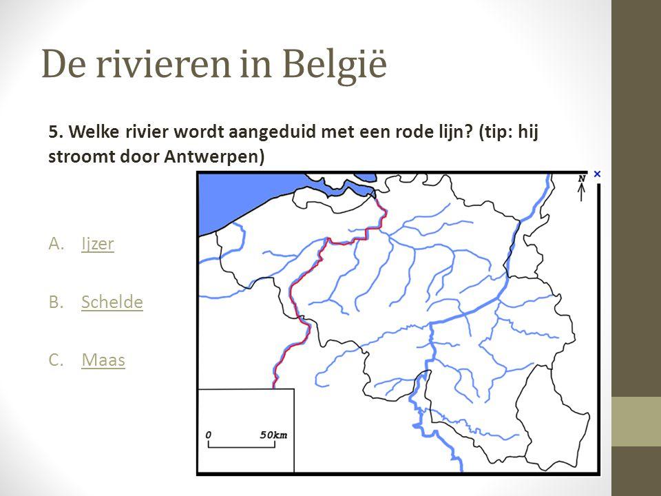 De rivieren in België 5. Welke rivier wordt aangeduid met een rode lijn (tip: hij stroomt door Antwerpen)