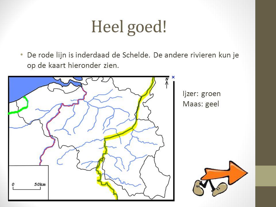 Heel goed! De rode lijn is inderdaad de Schelde. De andere rivieren kun je op de kaart hieronder zien.