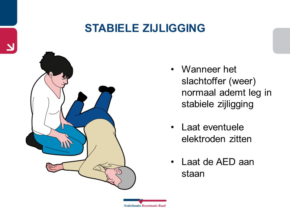 STABIELE ZIJLIGGING Wanneer het slachtoffer (weer) normaal ademt leg in stabiele zijligging. Laat eventuele elektroden zitten.