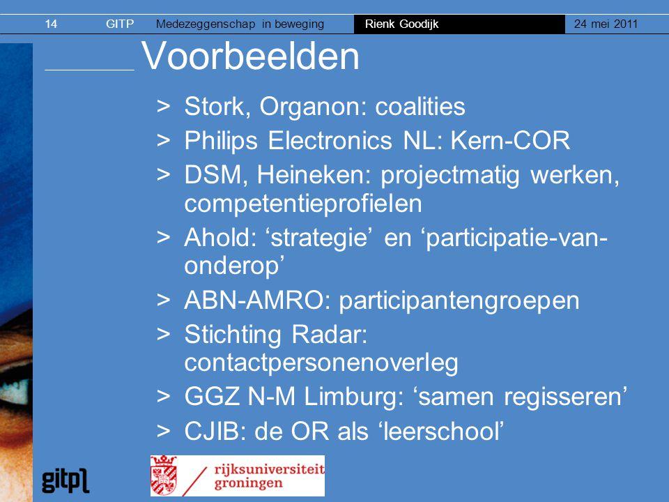 Voorbeelden Stork, Organon: coalities Philips Electronics NL: Kern-COR