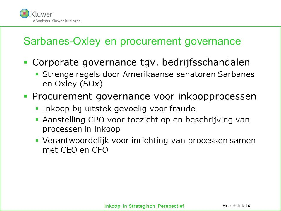 Sarbanes-Oxley en procurement governance