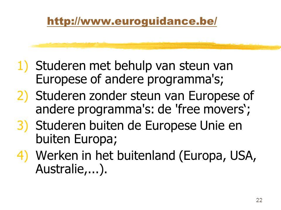 Studeren met behulp van steun van Europese of andere programma s;