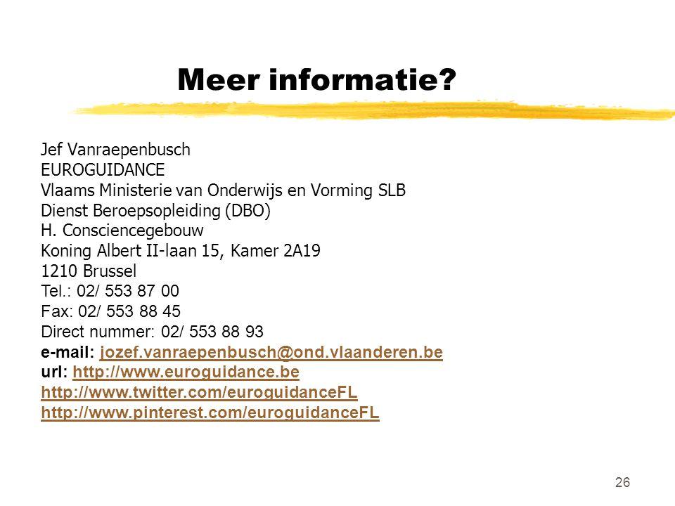 Meer informatie Jef Vanraepenbusch EUROGUIDANCE