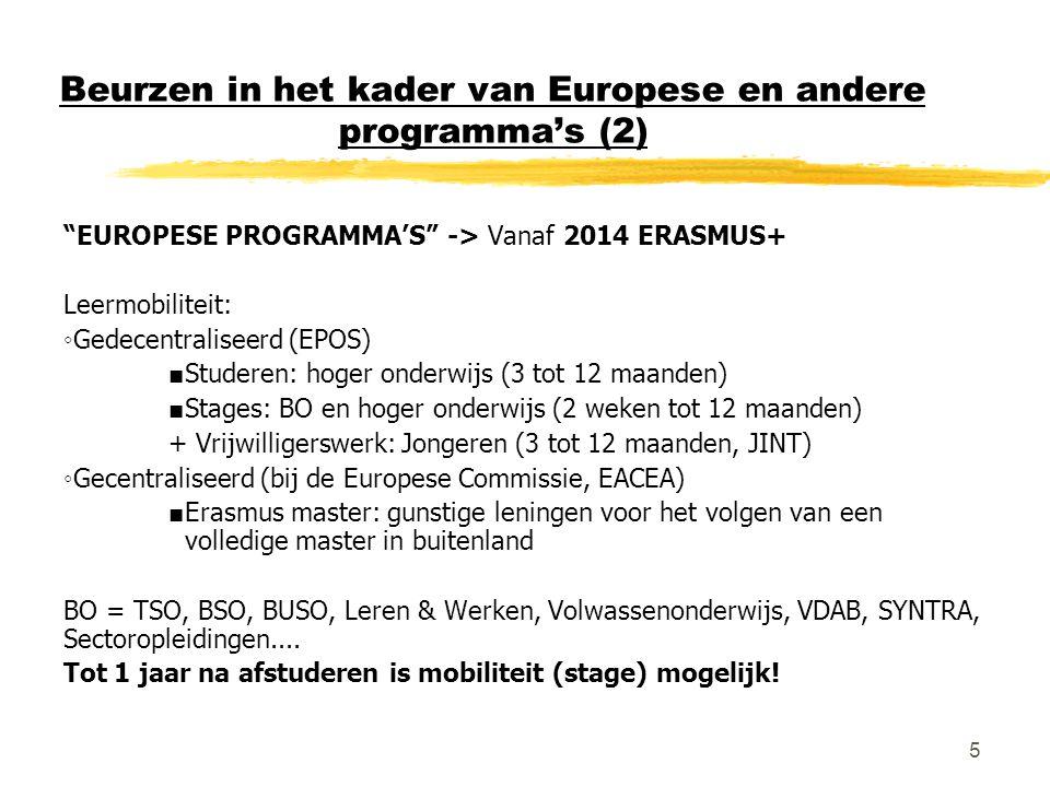 Beurzen in het kader van Europese en andere programma's (2)
