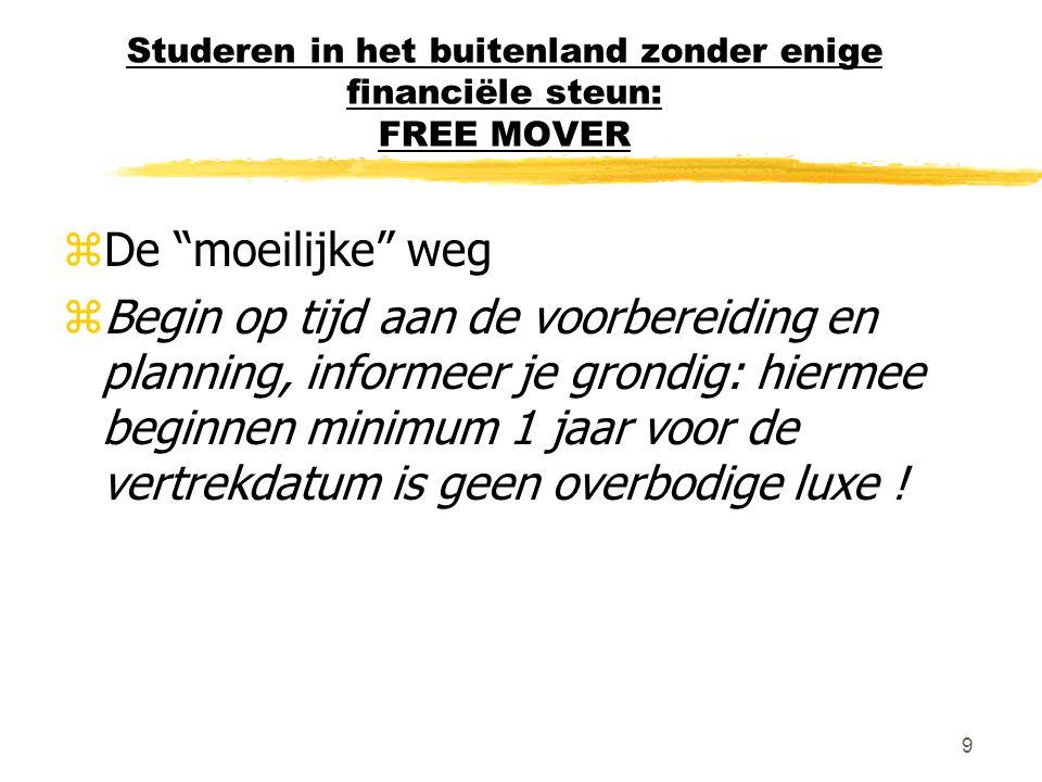 Studeren in het buitenland zonder enige financiële steun: FREE MOVER