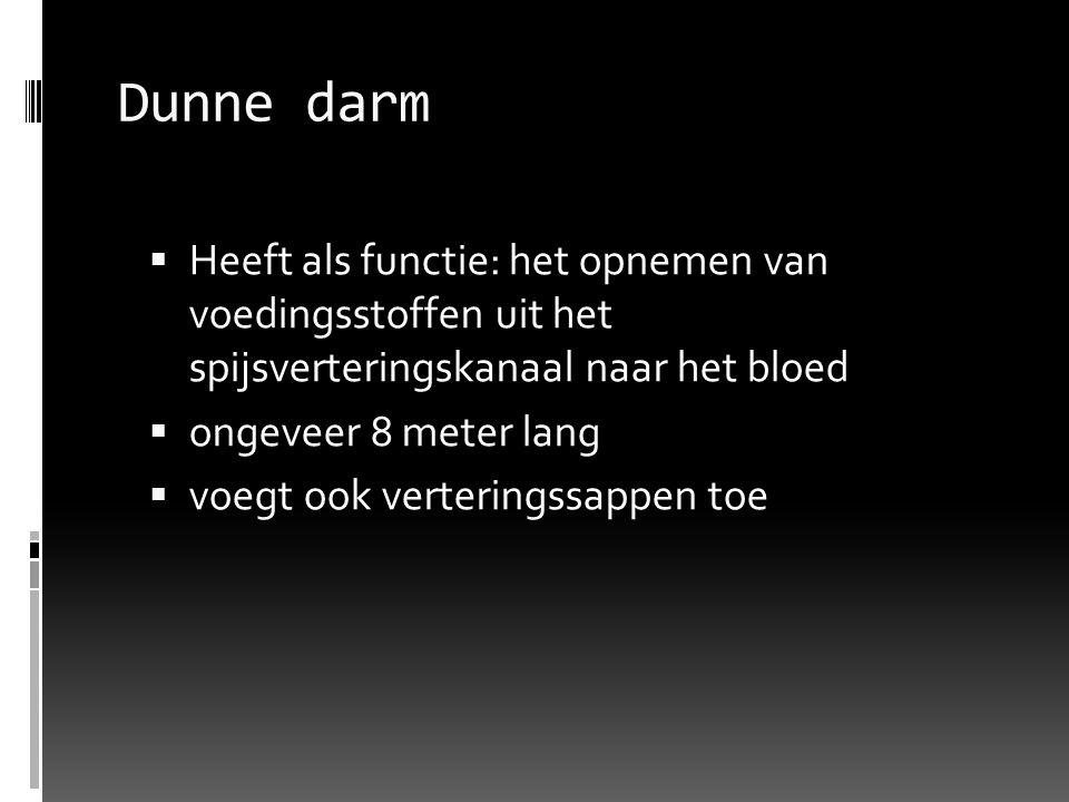 Dunne darm Heeft als functie: het opnemen van voedingsstoffen uit het spijsverteringskanaal naar het bloed.