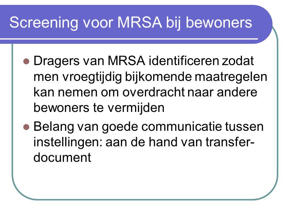 Screening voor MRSA bij bewoners