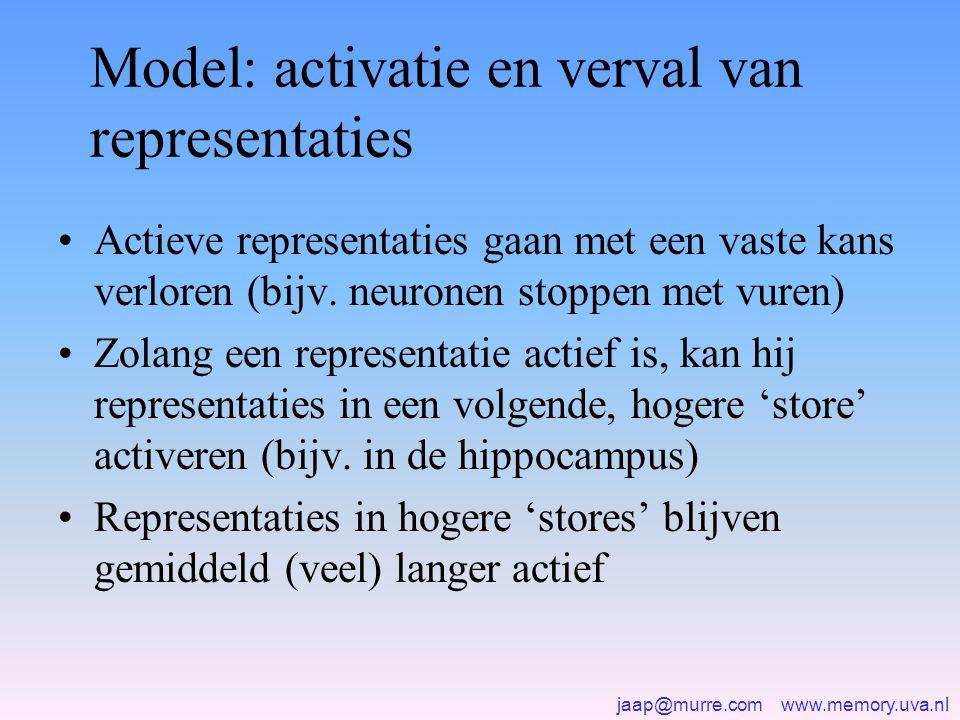 Model: activatie en verval van representaties