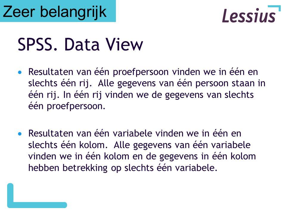 SPSS. Data View Zeer belangrijk