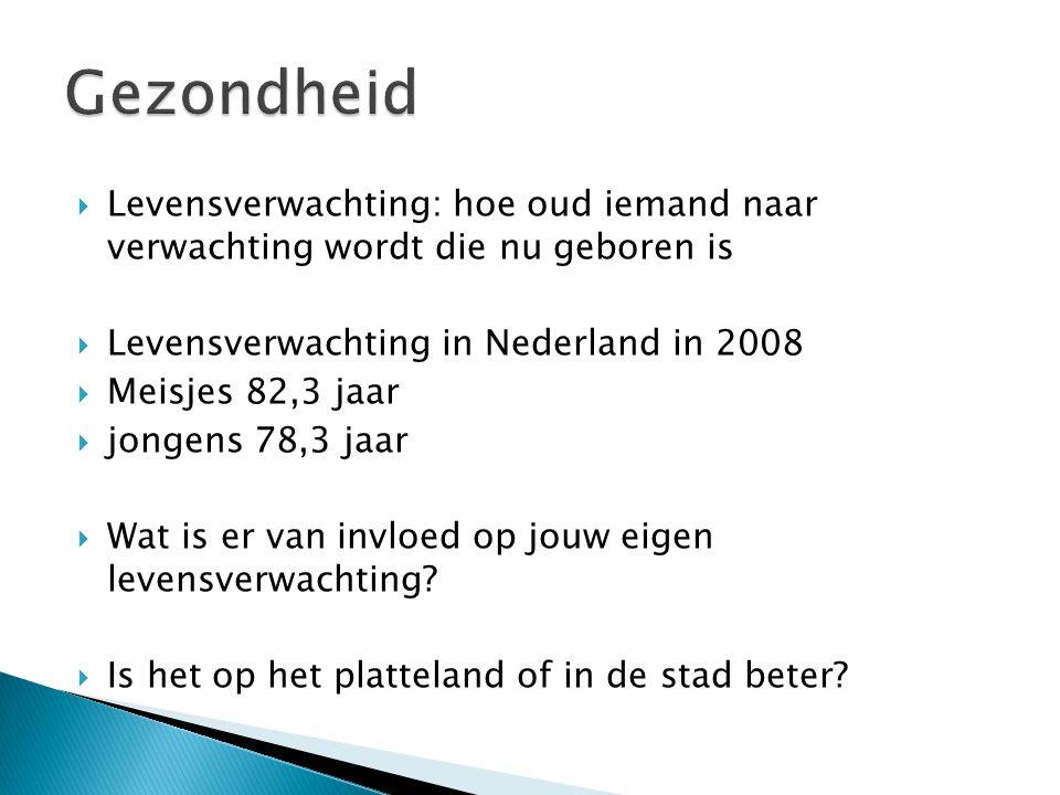 Gezondheid Levensverwachting: hoe oud iemand naar verwachting wordt die nu geboren is. Levensverwachting in Nederland in 2008.