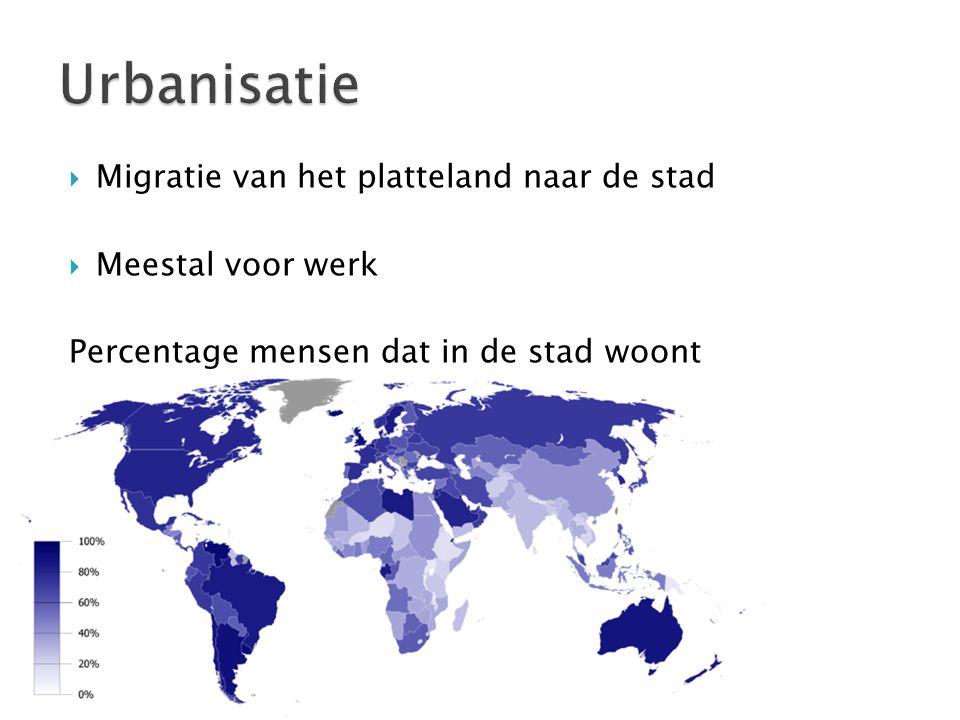 Urbanisatie Migratie van het platteland naar de stad Meestal voor werk