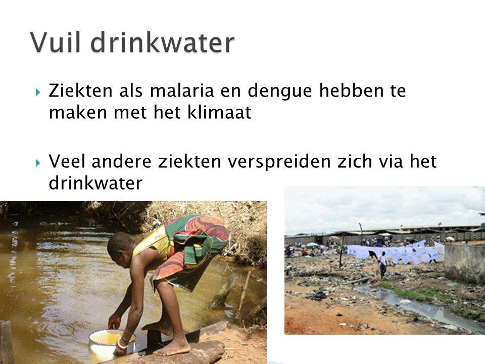 Vuil drinkwater Ziekten als malaria en dengue hebben te maken met het klimaat.