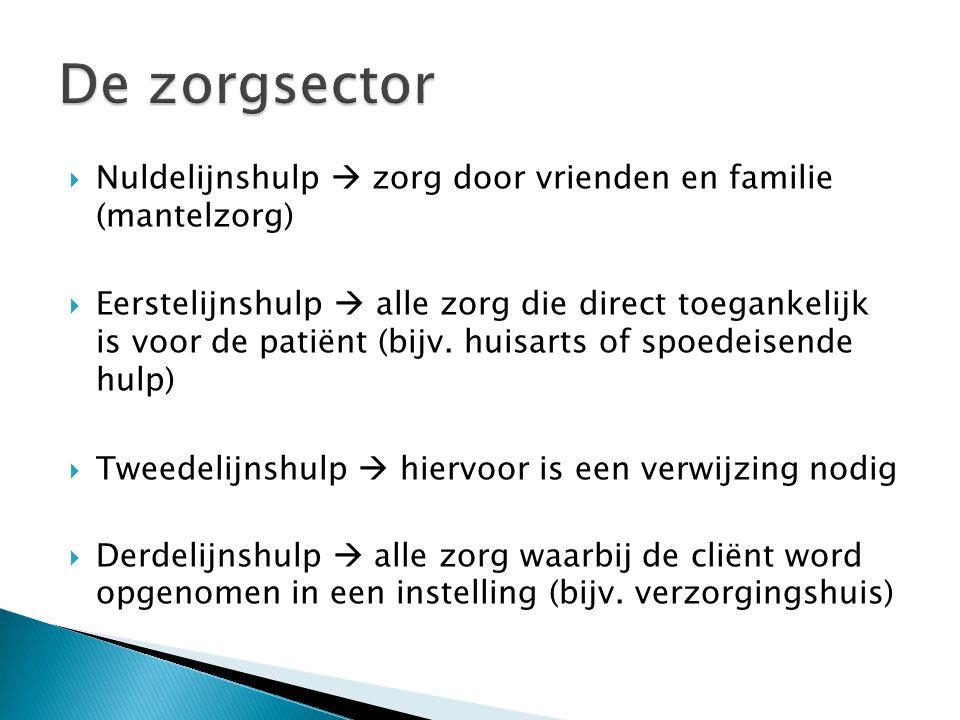 De zorgsector Nuldelijnshulp  zorg door vrienden en familie (mantelzorg)