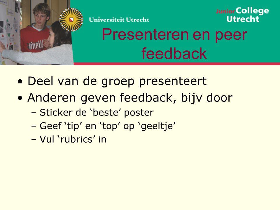 Presenteren en peer feedback