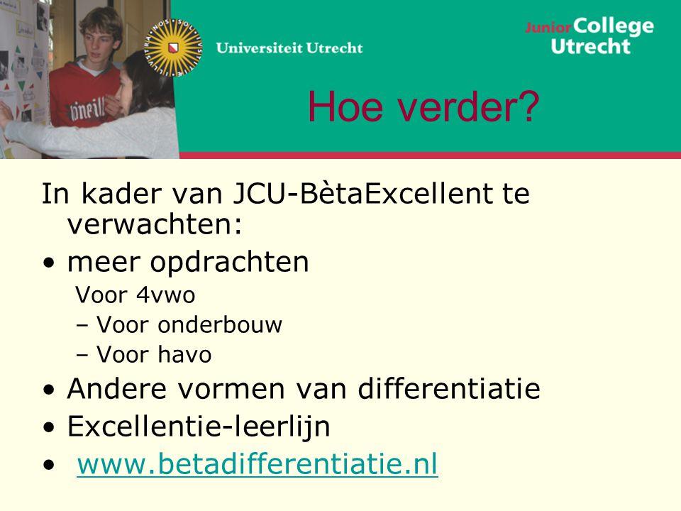 Hoe verder In kader van JCU-BètaExcellent te verwachten: