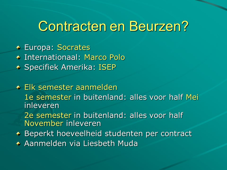 Contracten en Beurzen Europa: Socrates Internationaal: Marco Polo