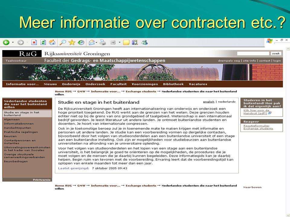 Meer informatie over contracten etc.