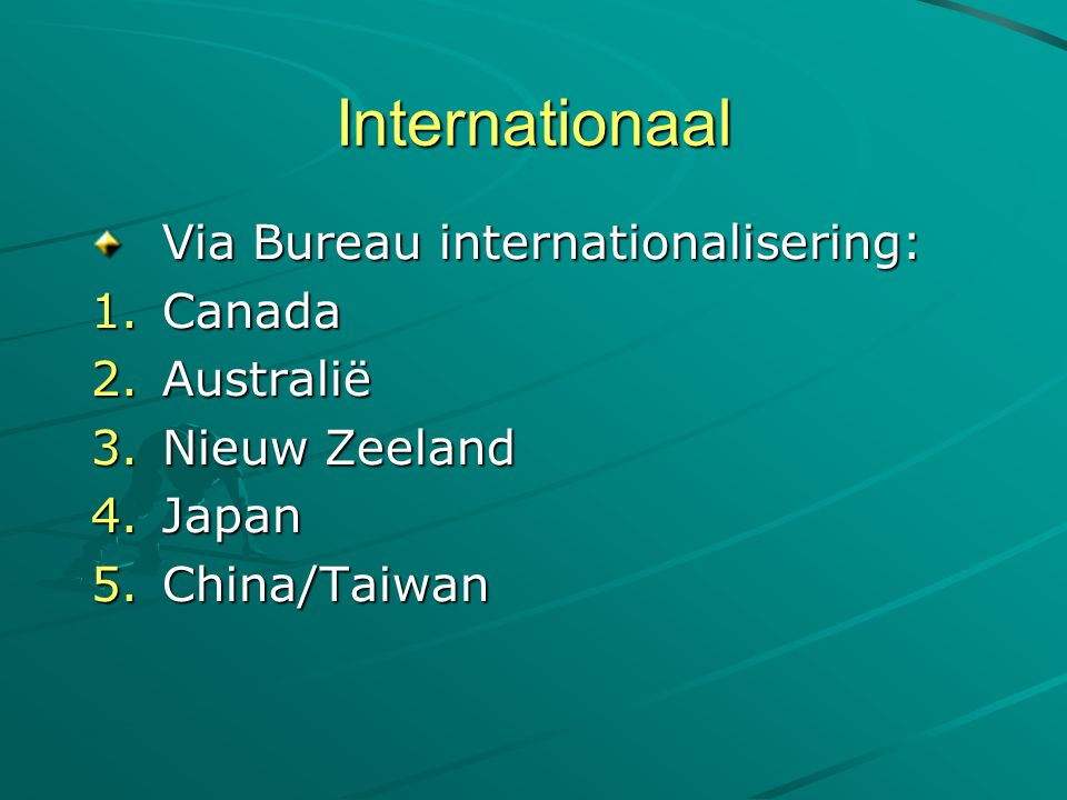 Internationaal Via Bureau internationalisering: Canada Australië