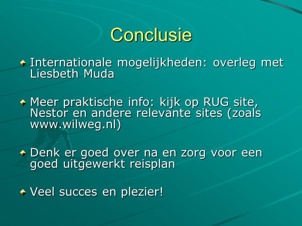 Conclusie Internationale mogelijkheden: overleg met Liesbeth Muda