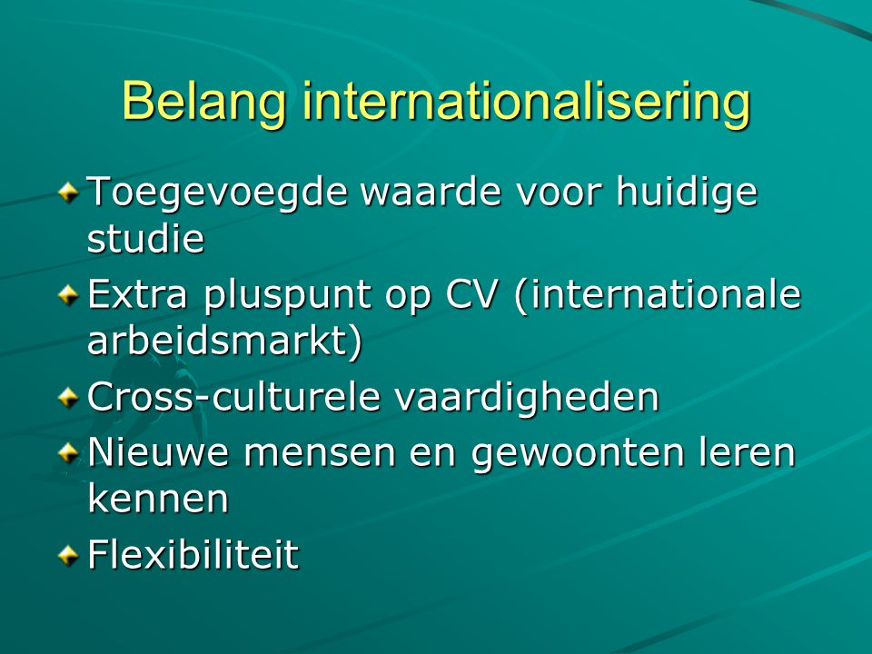 Belang internationalisering