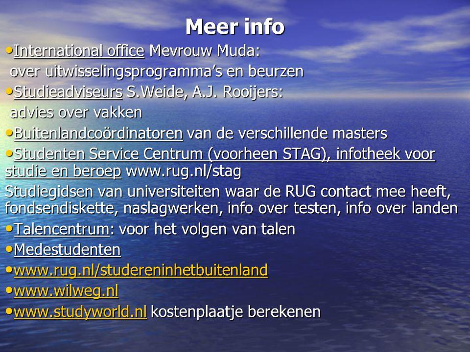 Meer info International office Mevrouw Muda: