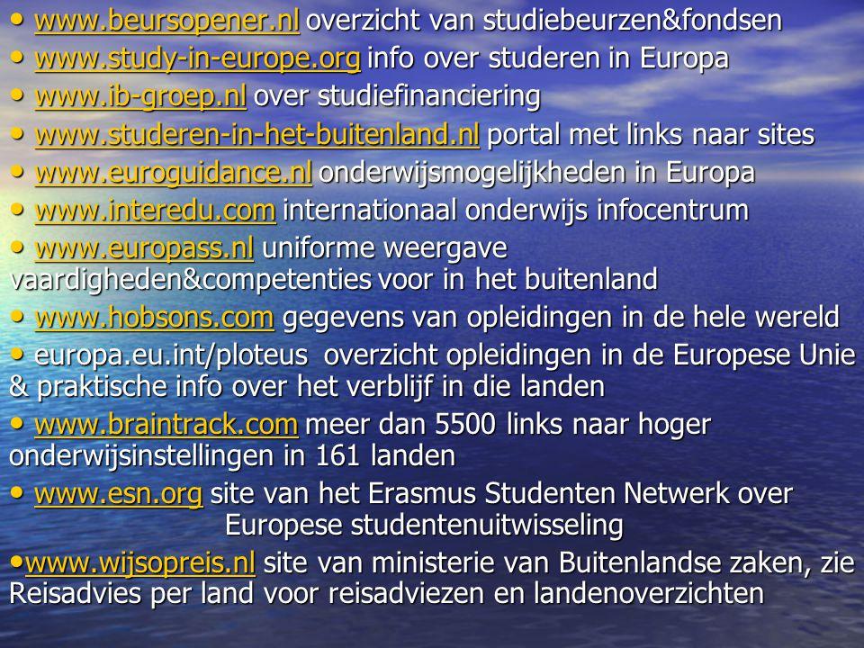 www.beursopener.nl overzicht van studiebeurzen&fondsen