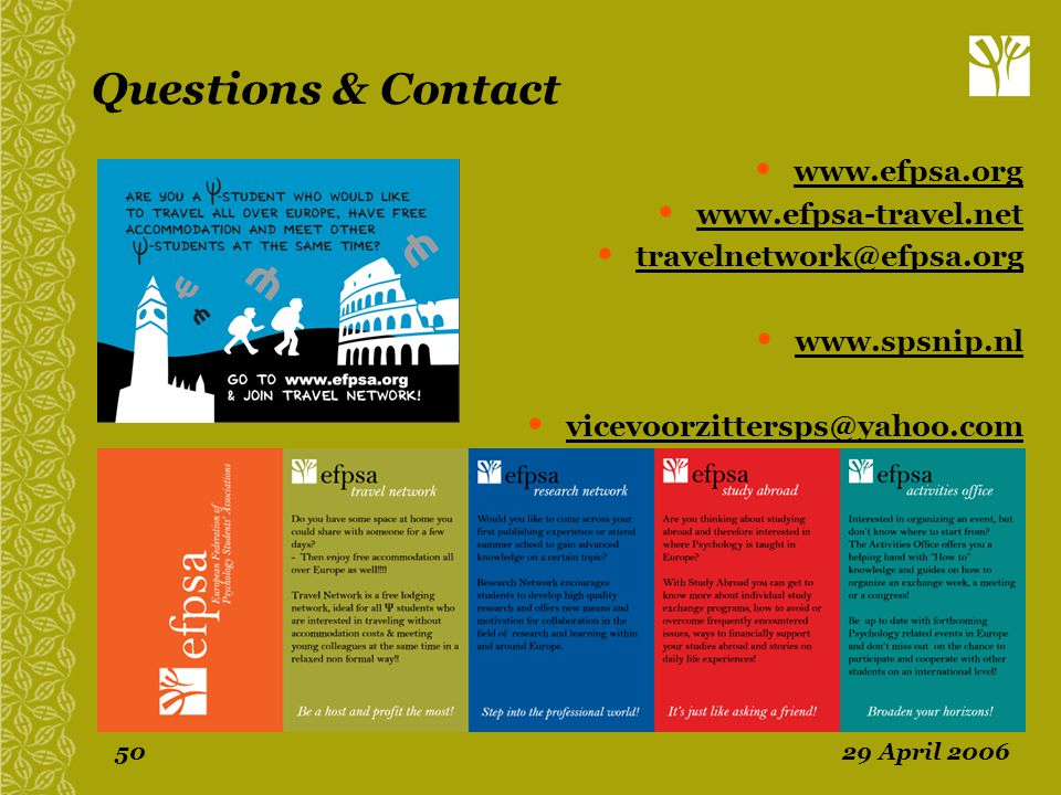 Questions & Contact www.efpsa.org www.efpsa-travel.net