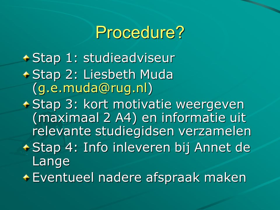 Procedure Stap 1: studieadviseur