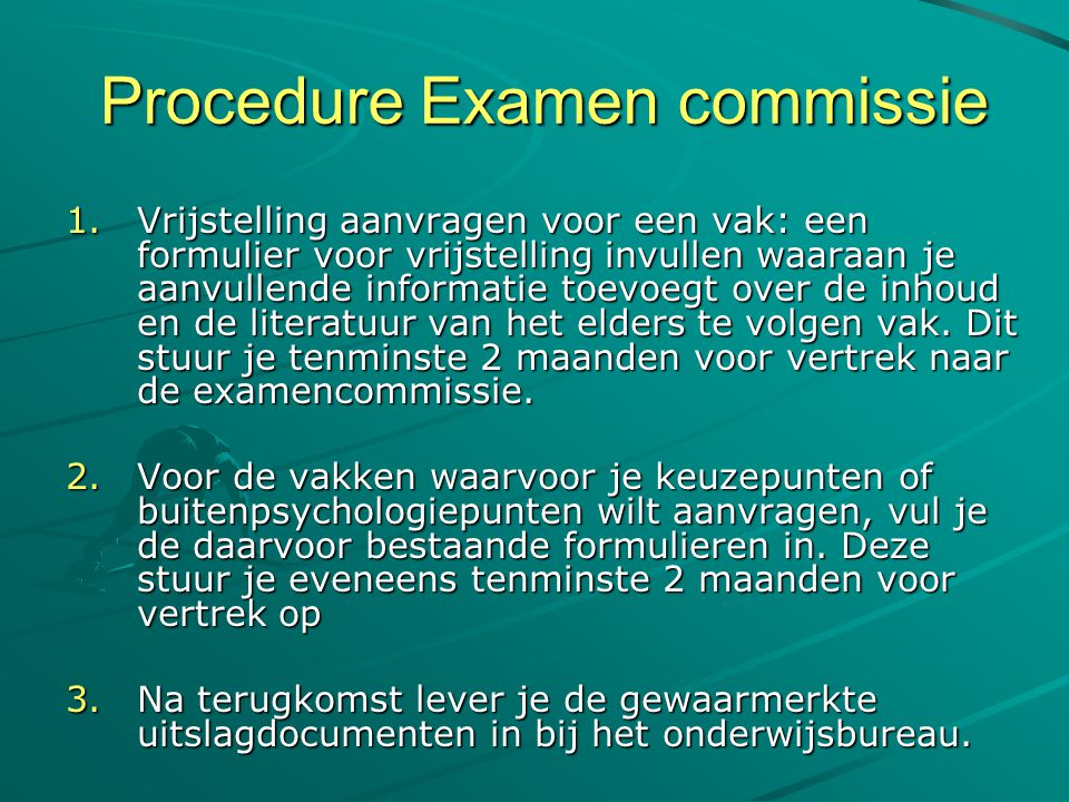 Procedure Examen commissie