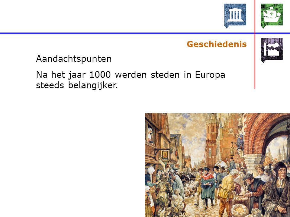 Na het jaar 1000 werden steden in Europa steeds belangijker.