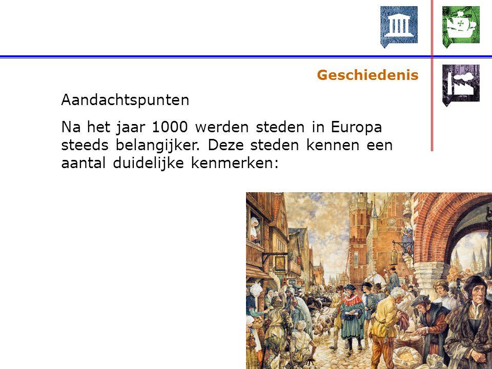 Geschiedenis Aandachtspunten. Na het jaar 1000 werden steden in Europa steeds belangijker.