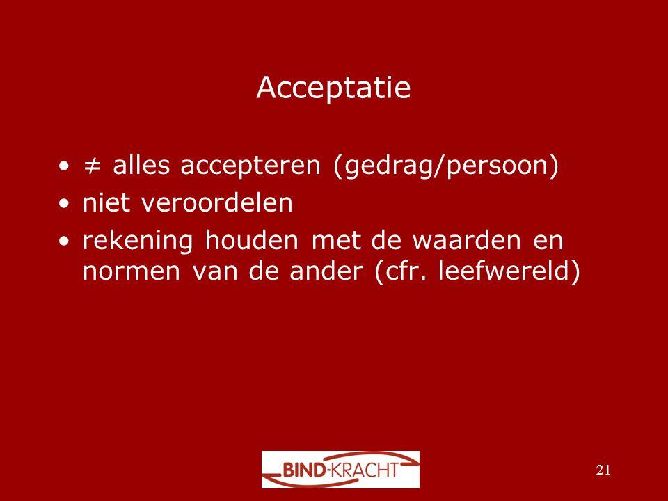 Acceptatie ≠ alles accepteren (gedrag/persoon) niet veroordelen