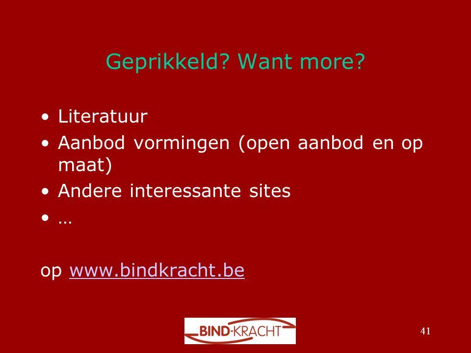 Geprikkeld Want more Literatuur