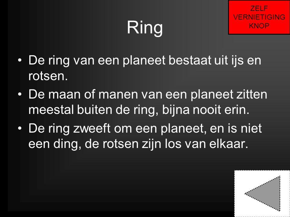 Ring De ring van een planeet bestaat uit ijs en rotsen.